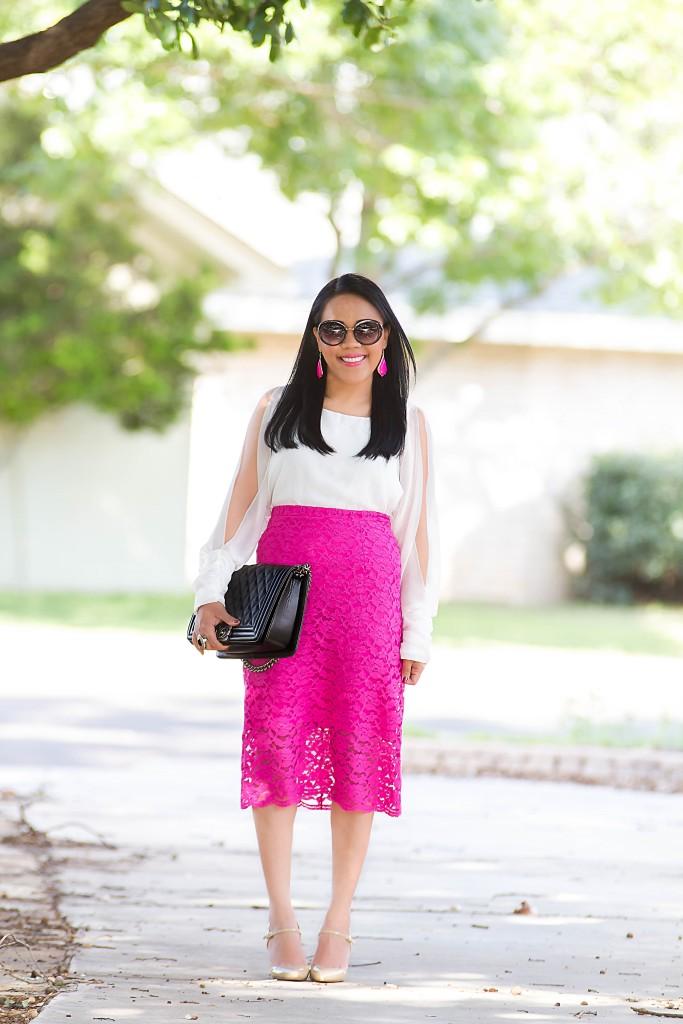 Nicole Miller Lace Pencil Skirt