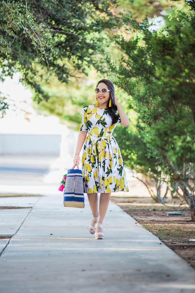 lemon printed garden dress: Sammydress