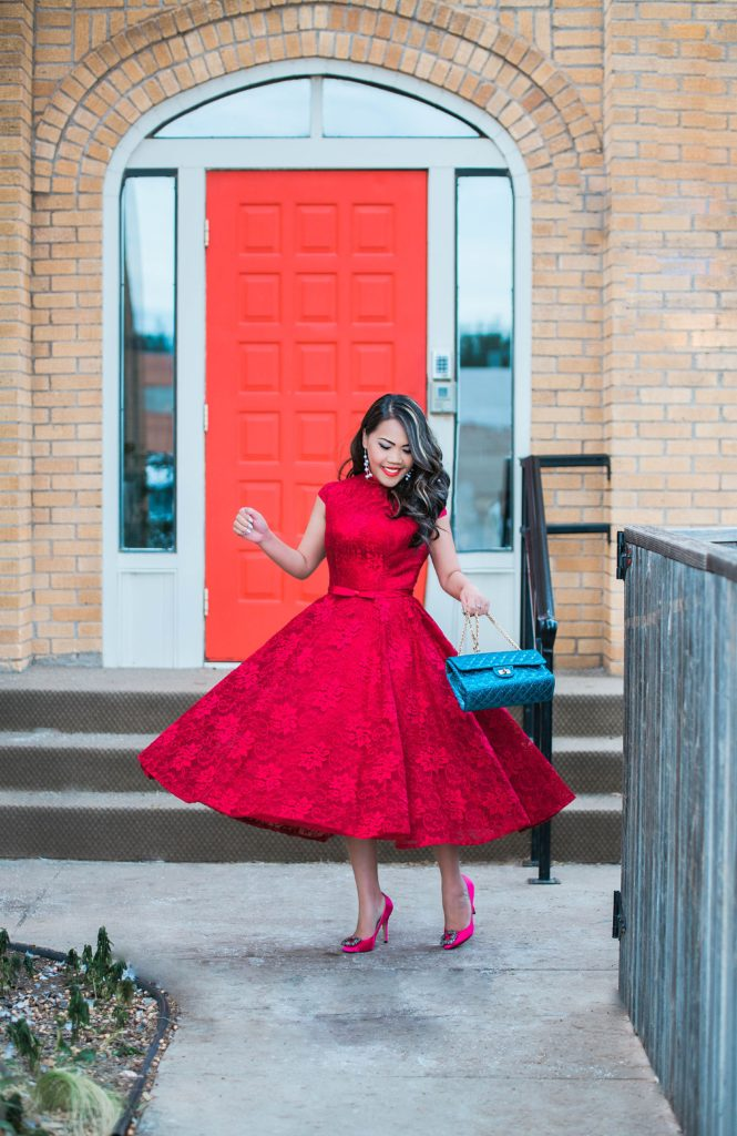 Holiday look: All Red with a touch of Pink