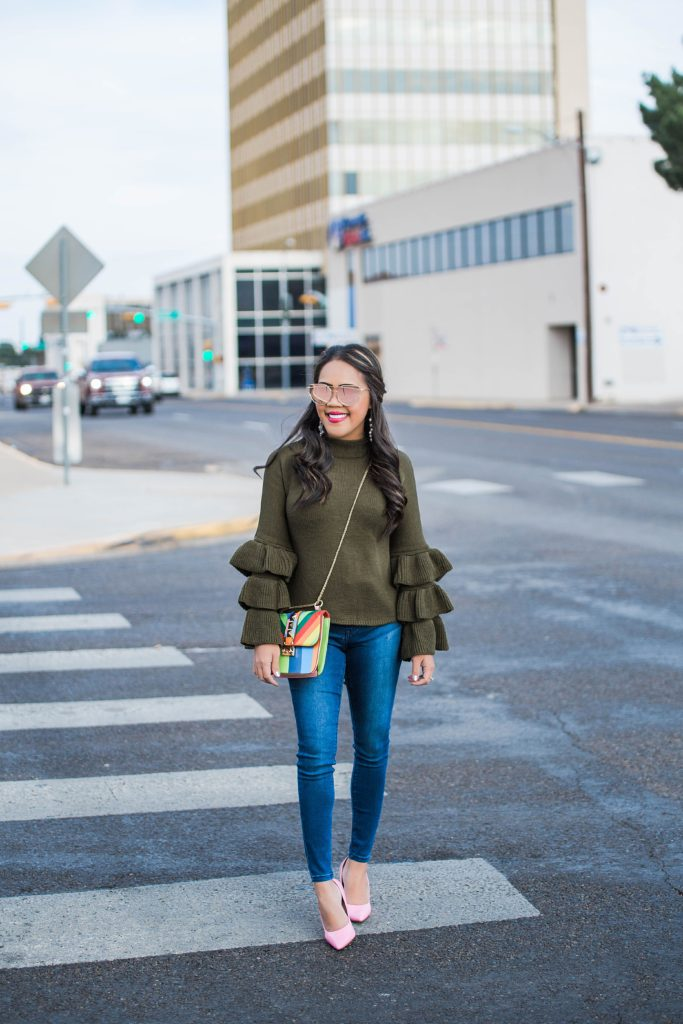 Olive Green Layered Ruffle Sleeve Sweater