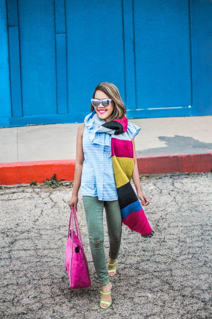 Color Blocking : Blanket Scarf