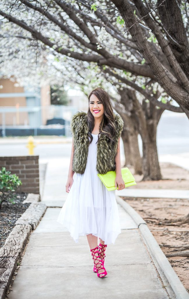 Spring Time: Army Green Faux Fur Vest