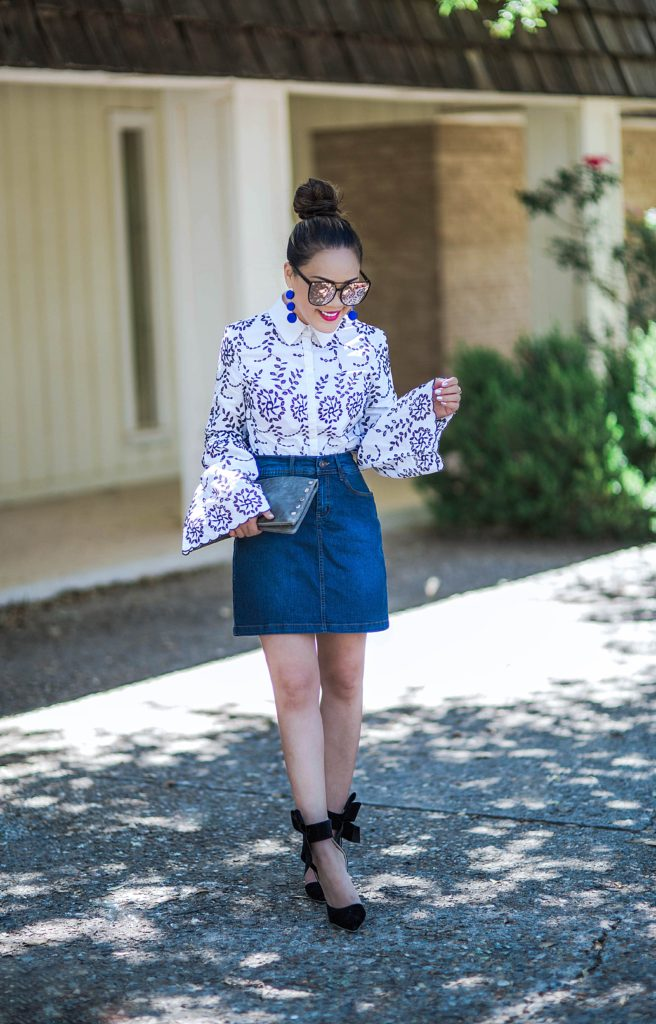 Embroidery Shirt + denim skirt